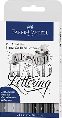 Faber-Castell 267118 - Tuschestift Pitt Artist Pen Lettering Starter Set, 9-teilig (5 Pitt Artist Pens mit Pinselspitze, 2 Pitt Artist Pen Fineliner, 1 Castell 9000 Bleistift B, 1 Spitzer)