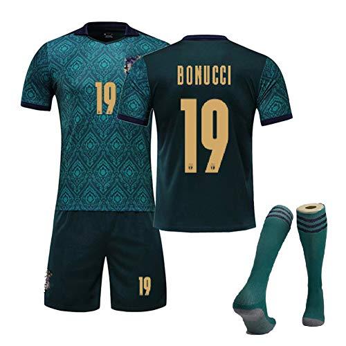 MRRTIME Fußballbekleidung für Erwachsene Männer, Buffon 1 Rossi 16 Bonucci 19 Fans Kurzarm-Fußballuniformanzug, Italien 2020 Auswärtsspiel Fußballtrikotuniform-Green Bonucci 19-L