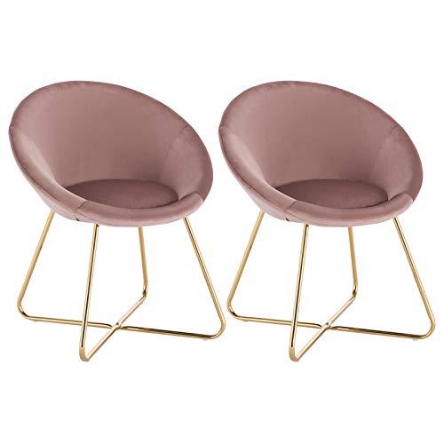 WOLTU® Esszimmerstühle BH217rs-2 2er Set Küchenstuhl Polsterstuhl Wohnzimmerstuhl Sessel, Sitzfläche aus Samt, Metallbeine, Rosa