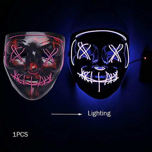 ZHANGJI Halloween deko Garten-Halloween Neon Maske Cosplay Spiel Party Supplies Maskerade Mascara...