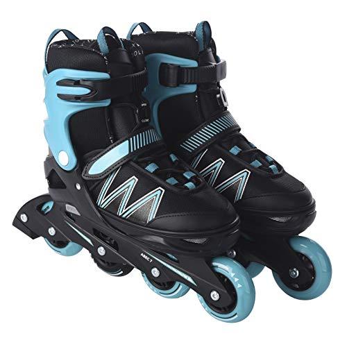 L.A. Sports Inliner Skate Soft Kinder Jugend Damen Größenverstellung 5 Größen verstellbar (33-37, türkis blau)