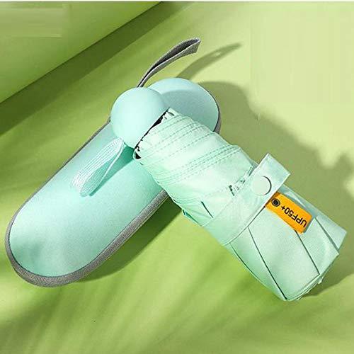 Paraguas Plegable Paraguas De Cinco Agarres Protección Solar Uv Sombrilla Femenina Lluvia Cápsula De Doble Uso Compacto Portátil De Bolsillo Verde Claro