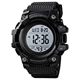 Skmei Sports Watch Men,Digital 5 ATM Watreproof Watches Military Multifunction Display EL Light Wristwatch with Alarm (Small1552Black)