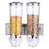 Bakali Home Doppio Distributore di Cereali Dispenser Macchina Storage Contenitore per Cereali da Parete 3 Litri Erogatore Cibo Secco