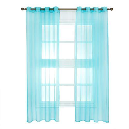 WOLTU VH5513ts-2, 2er Set Gardinen Vorhänge transparent mit Ösen Stores, Doppelpack Ösenvorhang Fensterschal Voile für Wohnzimmer Schlafzimmer Landhaus, 140x225 cm Türkis