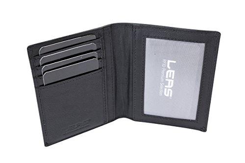 Ausweishülle Scheckkartenmappe Ausweismappe dünn mit RFID Schutz, Fahrzeugscheinmappe KFZ Mappe flach mit RFID Folie LEAS in Echt-Leder, schwarz