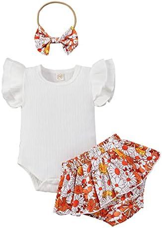 MAI 3 Stks Baby Meisje Kleding Effen Kleur Ruffle Mouw Romper BodysuitBloem ShortsHoofdband Zomer Outfits Set