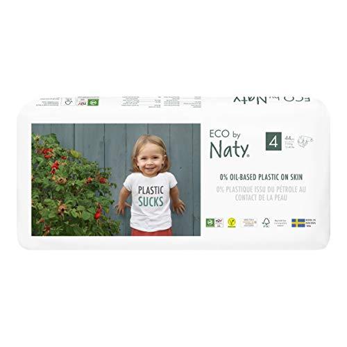 Eco by Naty, Taille 4, 88 couches, 7-18kg, Couche écologique fabriquée à partir de fibres végétales, 0% de plastique (issu du pétrole) au contact de la peau de bébé.