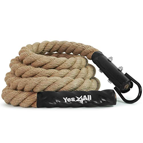Yes4All Gym Climbing Rope for Fitness & Strength Training, Crossfit Exercises & Home Workouts (1.5in - 15ft), Natural