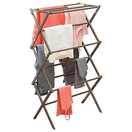 mDesign Tendedero de ropa plegable de bambú – Secador de ropa extensible con 3 niveles – Colgadores de ropa de diseño moderno para ahorrar espacio – gris