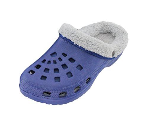 Brandsseller Herren Clogs Pantoffel Schuhe Gartenschuhe Hausschuhe gefüttert Slipper - Farbe: Blau/Grau - Größe: 44