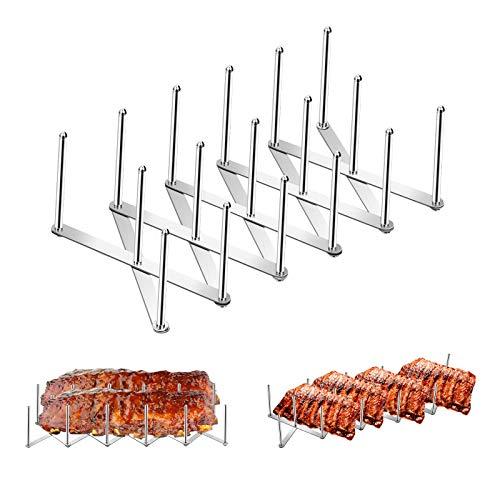 Yangbaga Spareribs-Halter, Deckelhalter aus Edelstahl, für die Zubereitung von Spareribs oder Braten Deckelhalter Gestell Verstellbares, 4-Slot-Geschirrhalter