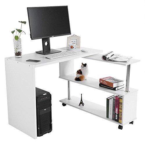 GOTOTOP Scrivania per computer a forma di L, con ruote girevoli a 360 gradi, per computer ad angolo, con ripiani da studio, 100 x 48 x 75 cm, colore: bianco