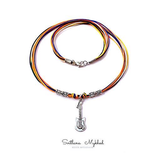 Halskette zum Personalisieren für Musiker, Gitarristen, Bewunderer der Musik GITARRE. MUSIK. ROCK. MUSIKINSTRUMENT für Erwachsene und Kinder; Satinschnur (Farbe und Länge Ihrer Wahl)