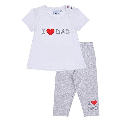 Lamaloli Baby Set I Love Dad, Glitzerdruck, Hose + Shirt, weiß-grau, Gr. 62-92 Größe 80