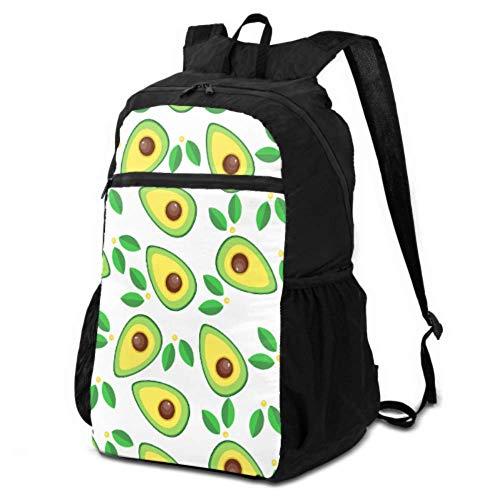 Packbarer Tagesrucksack, zum Wandern, niedliche Avocado und tropische Blätter, verstaubar, faltbarer Rucksack, Wanderrucksack, leicht, wasserdicht, für Damen und Herren