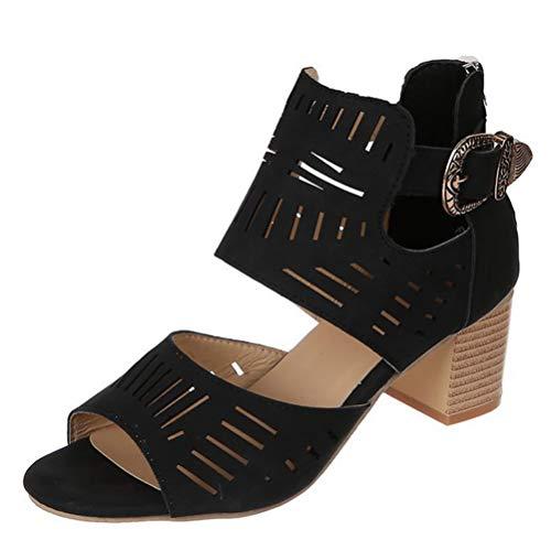 Sandalias de Gladiador para Mujer Tacón de Bloque Tacón Alto Ahueca hacia Fuera Correa de Tobillo Bombas de Verano Señoras Ocasionales Zapatos de Correa con Hebilla de Punta Abierta