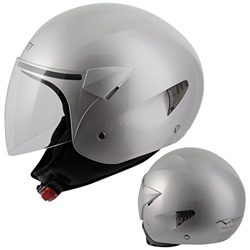 A-pro Casco de moto de la marca, scooter, color plateado, talla S