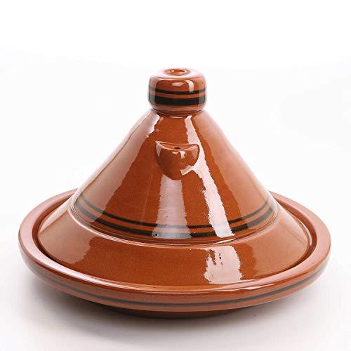 Casa Moro Marokkanische Tajine Terra Miel Ø 40 cm glasiert zum Kochen für 6 bis 8 Personen | Handmade Tontopf Berber Gartopf & Schmortopf | TA7045