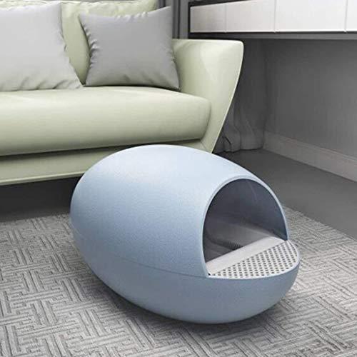 QWER Caja de Arena eléctrica Inteligente para Gatos, con Forma de Huevo, Semicerrado  (Color : Azul)