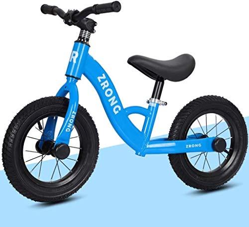 JIAO Bicicleta De Ejercicios para Principiantes para Niños Al Aire Libre, Bicicleta De Ejercicio Sin Pedal, Asiento Ajustable, Scooter para Niños Y Niñas De 2 A 6 Años, Marco Liviano(Color:Azul)