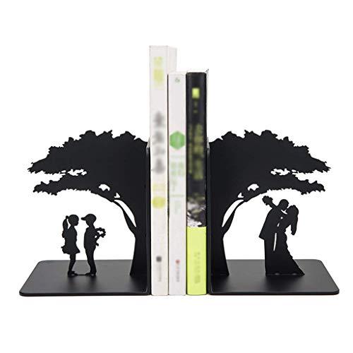 Soportes para Extremos de Libros para estantes Sujetalibros de Hierro Forjado Decoración romántica para Parejas y árboles Sujetalibros Antideslizantes Sujetalibros de Arte 1 par (Negro) SuJe