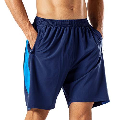 Pantalones Cortos Deportivos para Hombre Transpirable Secado Rapido para Running Fitness Gym(Armada...
