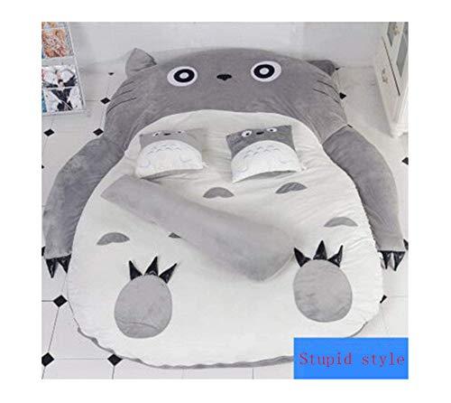 Wxyfl Felpa Totoro Saco de Dormir Sofá Cama Doble Puf de Espuma Tatami Cojín de Colchón de Dibujos Animados para Adultos y Niños Cojín de Dormir Lindo Saco de Dormir Sofá Cama,b,130x200cm