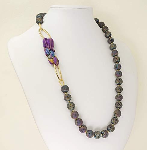 Lavastein Kette Damen Kugel, violett mit Shibori Seide, ausgefallene halsketten