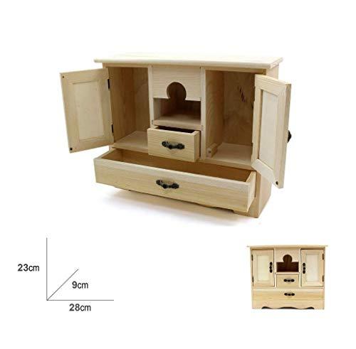 takestop® wasmand van hout 23 x 28 cm lade voor sieraden, 2 laden, 2 laden, 2 deuren, voor opslag