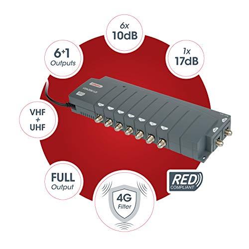 Labgear LDA2061LR 6 Way Distribution Amplifier - 4G Filtered Amp For TV/FM/DAB Signals For 6 TVs RED Compliant