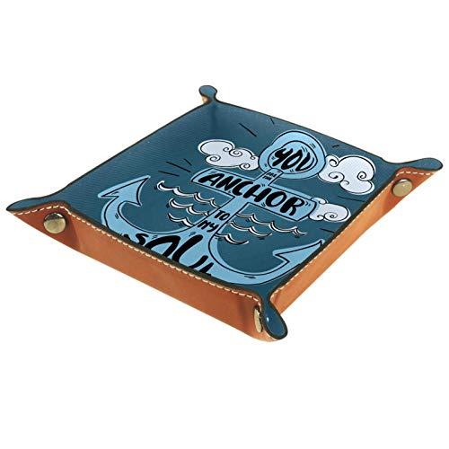 YATELI Caja de Almacenamiento pequeña, Bandeja de Valet para Hombre,Impresión de Ancla,Organizador de Cuero para Llaves de Caja de Monedas