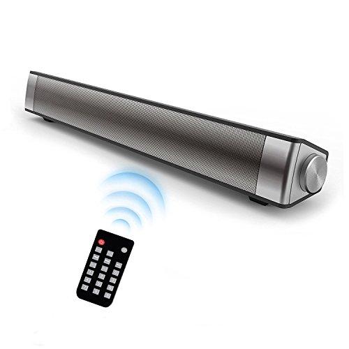 DABASO Sound Bar,New LP-08 2.1 Channel 10W Black Wireless Bluetooth 4.0 Speaker,Super Bass Stereo Multifunctional Soundbar for TV/Computer/Smartphone/MP3 Player(2018 Upgraded)