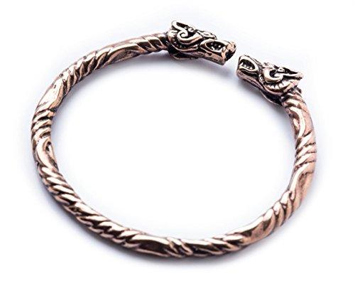 Windalf Großer Vikings Armreif THORDALL Ø 7.2 cm Mediaval Bohemian Drachenschmuck Wikinger Hochwertige Bronze
