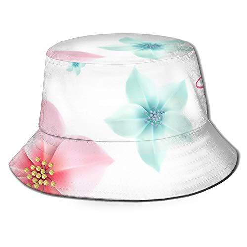 GAHAHA Fischerhüte für Herren, blaugrün-rosa, florales Muster, atmungsaktiv, Sonnenschutz, Unisex, faltbar, Sommerhut für den Außenbereich