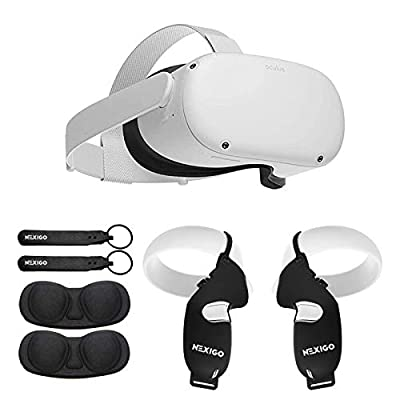 Oculus Newest Quest 2 VR Headset 256GB Holiday Christmas Family Bundle, Advanced All-in-One Virtual Reality Headset, NexiGo Grip Cover Black + Knuckle Strap Black + Lens Cover Accessory Bundle