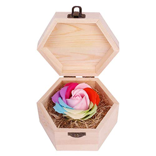 FENGLI Soap Flower Rose Gift, Colourful Rose in Wooden Hexagon Shape Box, Idea Valentines Day Mothers Day, Anniversary, Birthday Decoration, Engagement,Wedding, Party (Color : Pink)