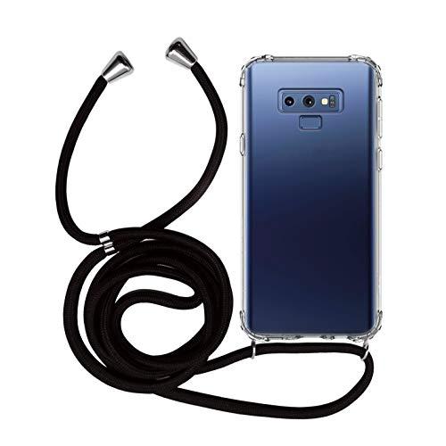 MyGadget Funda Transparente con Cordón para Samsung Galaxy Note 9 - Carcasa Cuerda y Esquinas Reforzadas en Silicona TPU - Case y Correa - Negro