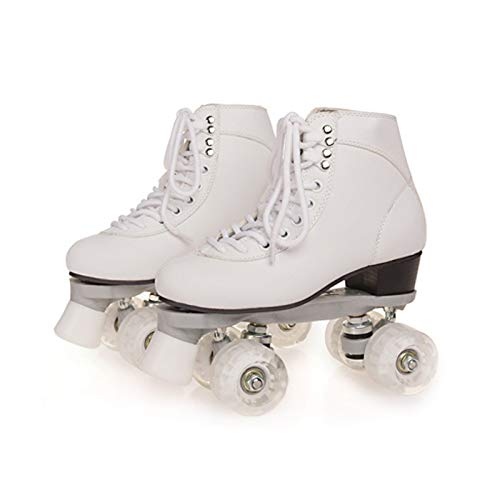 FUTURESTAR Patines de doble fila para adultos, patines para adultos, patines de doble fila, cuatro ruedas, color blanco, 6,5