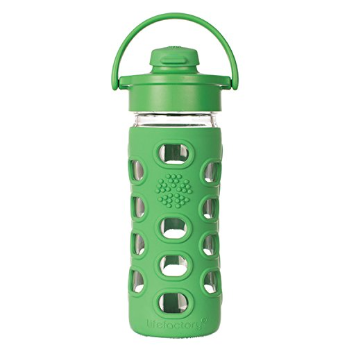 Lifefactory 15160 Glas -Trinkflasche 350ml, Flip Top Cap, grass green