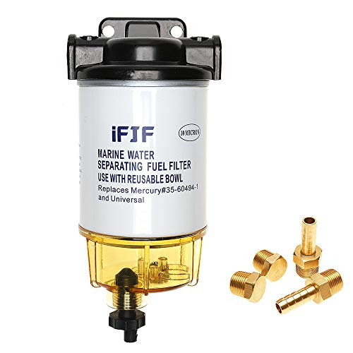 35-60494-1 Fuel Water Separating Filter 3/8 Inch NPT Port for Outboard Motor Mercury 35-60494-1 S3213 S3214 B32013,18-7932-1,18-7922,18-7932,18-7928-1,18-7928 10 Micron 802893Q01 Marine 35-809097