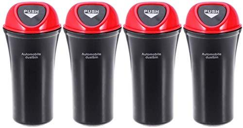 SGerste Auto-Innenmülltonnen mit Haken, Mini-Mülleimer für Fahrzeug, 4 Stück (rot)