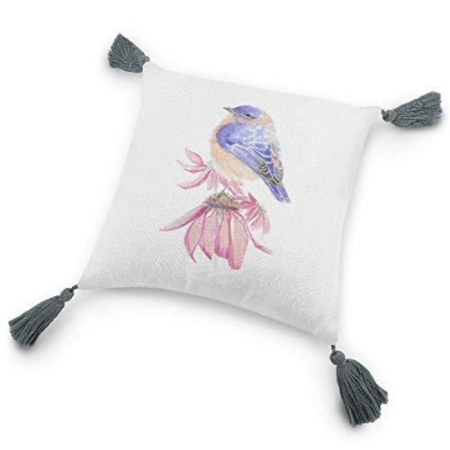 Funda de almohada con inserto de 9.8 x 9.8 pulgadas, original acuarela Bluebird sobre flor de equinácea funda de cojín decorativa con borlas para dormitorio, sala de estar y sofá