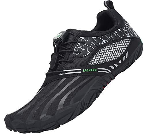 SAGUARO Minimalistes Chaussures de Trail Running Escalade Chaussure Deau Homme Les Cinq Doigts Gym Randonnée Marche Multisport Barefoot Shoes pour Outdoor & Indoor,SC Noir 44 EU
