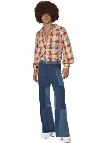 Herren Männer 70er Jahre Schlaghose Kostüm im Jeans Denim Look, perfekt für Karneval, Fasching und Fastnacht, L, Blau