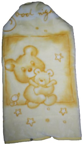 Couverture Pressionnee Bebe -Baby Sac Prodige 629 - Theme Oursons Good Night JAUNE