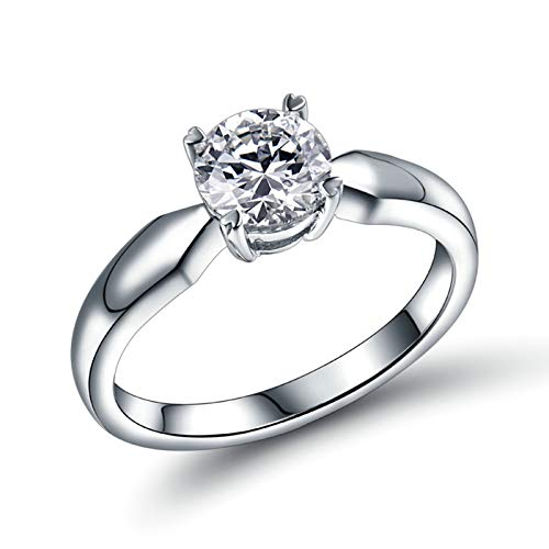 Bishilin Anillos de Boda Oro Blanco 750, Diamante Único de 4 Puntas Anillo de Bodas para Mujer 0.5ct Diamante Elegante Anillo de Fiesta de Cena Alianzas de Boda Oro Blanco Talla: 25