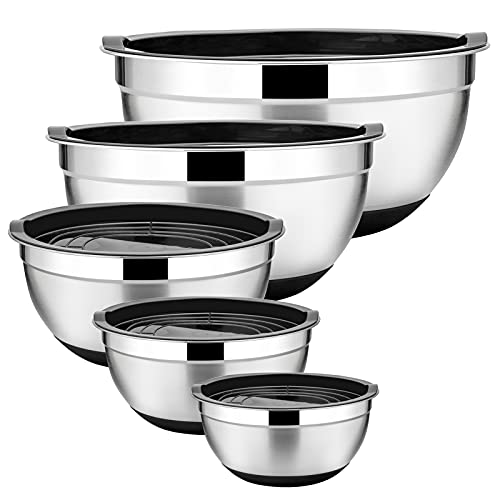 Stainless Steel Mixing Bowls Set of 5, Size 7/3.5/2.5/2/1 QT, E-far Metal Nesting Bowls with Black Airtight Lids, Measurement Marks & Non-Slip Bottoms, Great for Cooking, Baking, Serving, Food Prep