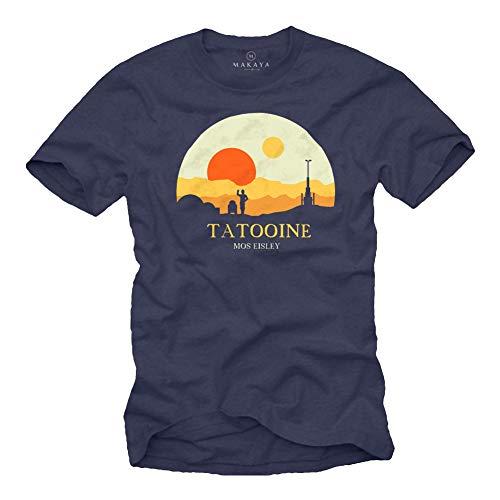 MAKAYA Herren T-Shirt mit Aufdruck Kurzarm Rundhals- Ausschnitt - Motiv Mos Eisley Tatooine Death Star dunkelblau Größe XXL