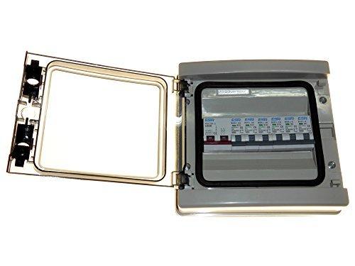 Cuadro eléctrico con interruptor principal 6 MCB - 100 amp aislante de desplazamiento y tecla de 2 x 6 A, 2 x 16 A, meningomielitis 2 x 32 A